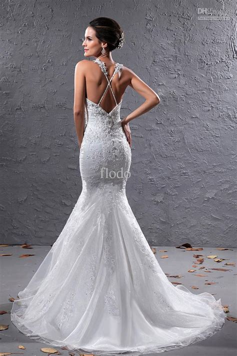Vintage Backless Lace Mermaid Wedding Dresses Ivory