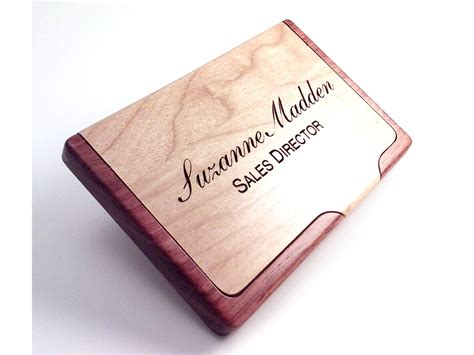Custom Gift Cards For My Business - engraved wood business card holder personalized with your name words or saying