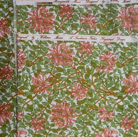 William Morris Patchwork Fabric - vintage fabric sanderson william morris honeysuckle pink