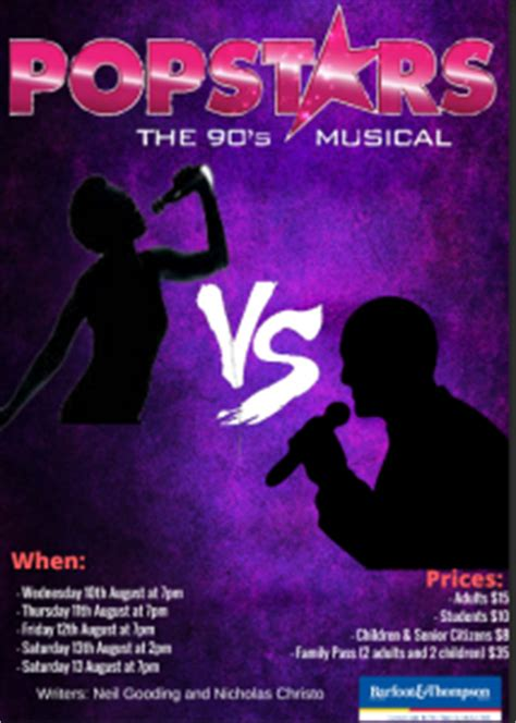 popstar the musical tickets now on sale for popstars a 90 s musical mhjc