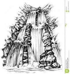 waterfall drawing stock vector image 68389180