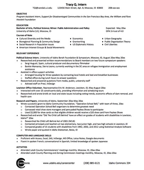Political Resume by Sle Political Science Resume Http Exleresumecv