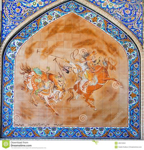 Blue Mosaic Tile persian painting on colorful tile with riders play polo on