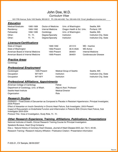 resume templates nih format cv 8 curriculum vitae for doctors sle theorynpractice