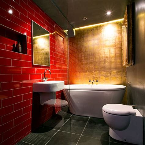 red bathroom red and gold bathroom bathroom decorating housetohome