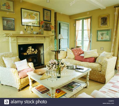 country living room tables white painted coffee table in cosy country living room