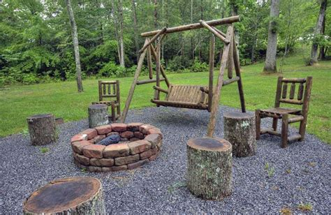 bench swing fire pit gravel patio wood border patio design