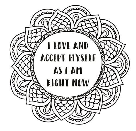 self love coloring pages mandala style coloring page printable self love