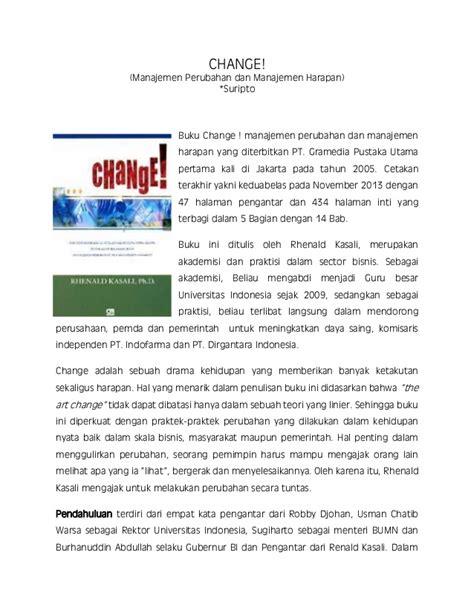 Buku Manajemen Perubahan Management Of Change Pengarang Prof Dr J 1 change manajemen perubahan dan harapan resensi