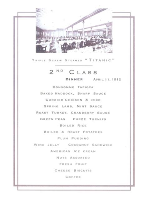 titanic second class menu oysters 233 clairs and plenty of booze tasting the titanic