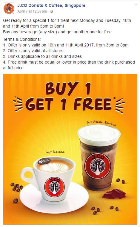 J Co Donuts And Coffee j co donuts coffee 1 for 1 drinks at all outlets 3pm 8pm from 10 11 apr 2017
