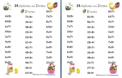 Math Worksheets For Multiplication And Division by Free Easter Multiplication And Division Worksheets