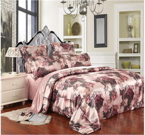 floral comforter sets queen pinkish grey floral mulberry silk bedding comforter set