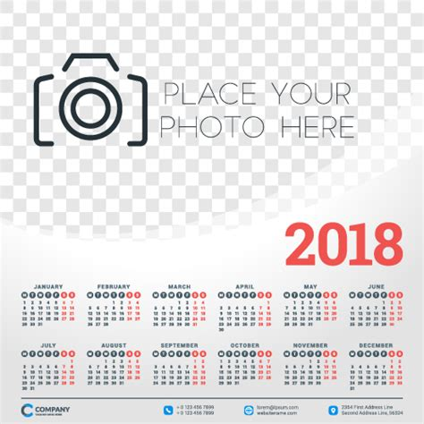 Calendar 2018 Template Design 2018 Business Calendar Template Vectors 05 Vector