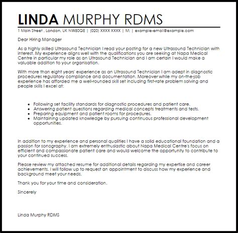 Ultrasound Technician Cover Letter by Ultrasound Technician Cover Letter Sle Livecareer