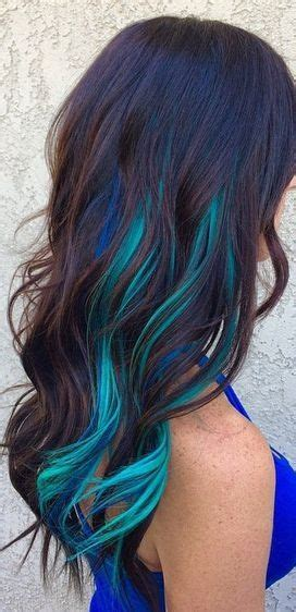 hairstyles with teal highlights teal and darker blue highlights hair pinterest