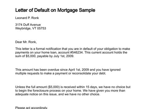 Foreclosure Of Loan Letter Format Letter Of Default