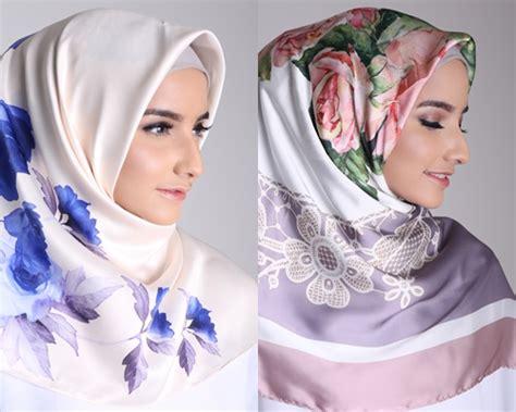 tren terbaru jilbab segi empat satin motif hijup