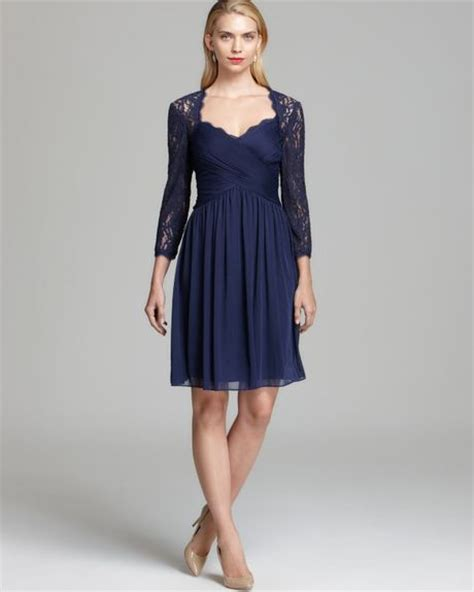 adrianna papell lace yoke drape gown adrianna papell draped dress lace yoke in blue dusk lyst