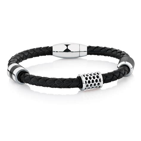 s bracelet in black leather stainless steel