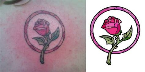 beauty and the beast rose tattoos by barefeets on deviantart