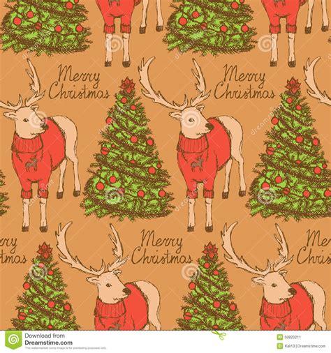 vintage pattern sketch sketch christmas reindeer and new year tree vintage style