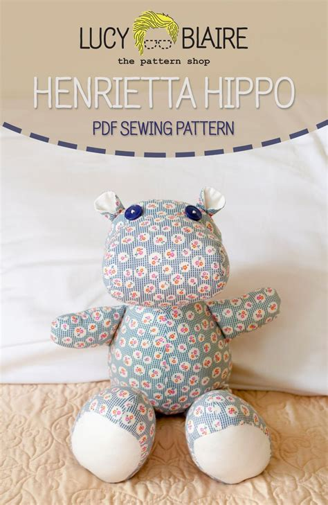 Handmade Stuffed Animal Sewing Patterns - henrietta hippo stuffed animal sewing pattern animal