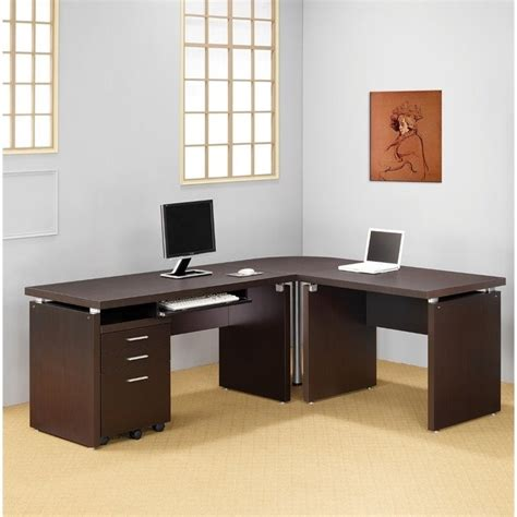 Coaster L Shaped Desk Coaster Skylar L Shaped Computer Desk In Cappuccino 800891 800892 800893 800894 Kit