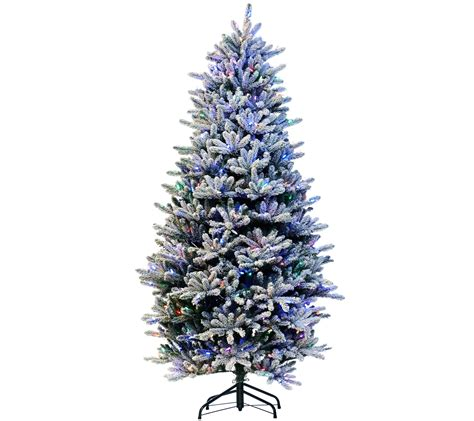 wwwqvccomprelit christmas trees santa s best 9 rgb 2 0 flocked balsam fir tree page 1 qvc