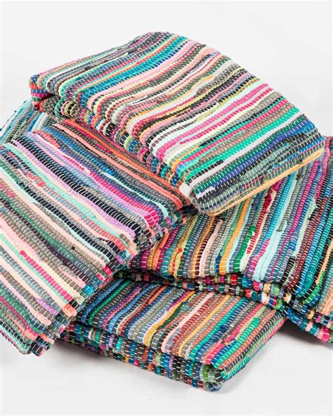 Cotton Chindi Rugs by Woven Multi Coloured Striped Cotton Chindi Rug