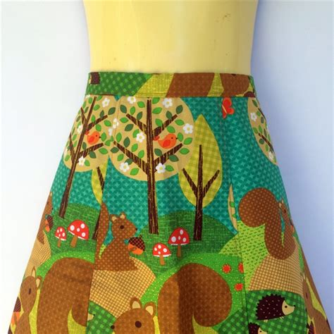 ladies retro squirrel a line skirt sizes 8 18 mushroom