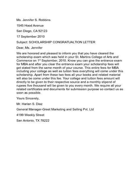 Answers To Mba Congratulatory Letter by Scholarship Congratulation Letter Sle Edit Fill