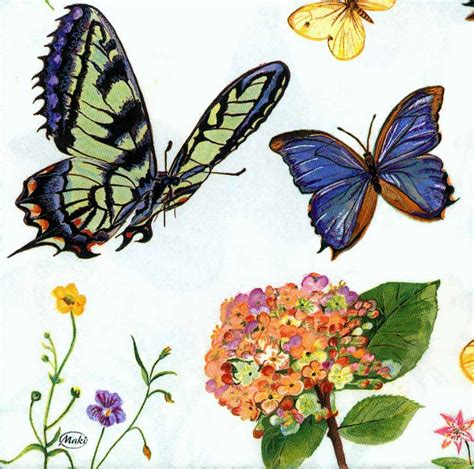 Butterfly Decoupage Paper - decoupage paper napkins of five butterflies