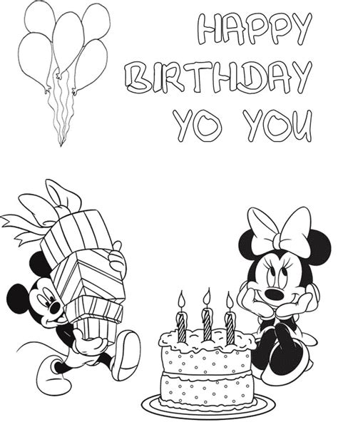 mickey with minnie birthday coloring page h m coloring