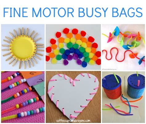 motor skills preschool motor busy bags for coffee cups and crayons