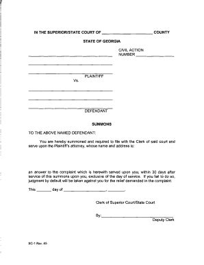 Fulton County Superior Court Civil Search Court Summons Superior Form Fill Printable Fillable Blank Pdffiller