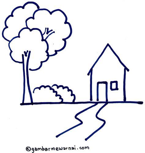 tutorial gambar untuk anak belajar menggambar rumah dengan crayon gambar mewarnai
