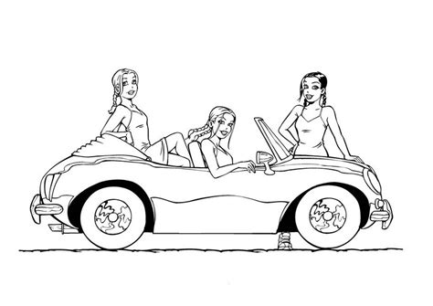 girl car coloring page coloring page of 3 girls with car
