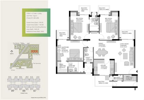 3bhk plan 3 bhk ready to move flats in gurgaon the heartsong experion