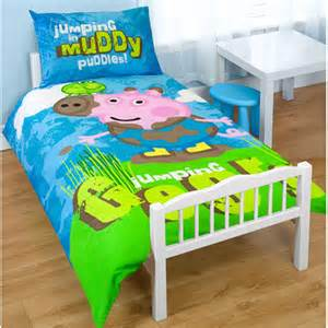 George Pig Toddler Bed Covers Peppa Pig George Puddles Junior Duvet Cover Cot Bed