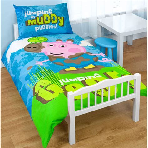 peppa pig bedding peppa pig george puddles junior duvet cover cot bed