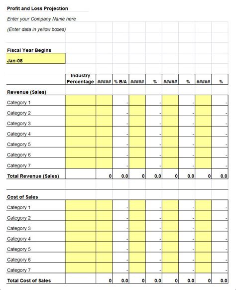 Profit Loss Statement Template Helloalive Profit Loss Projection Template