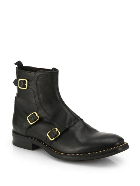 black boots with buckles lyst mcqueen three buckle leather ankle boots