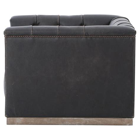 cube armchair emmy rustic lodge black leather tufted cube armchair