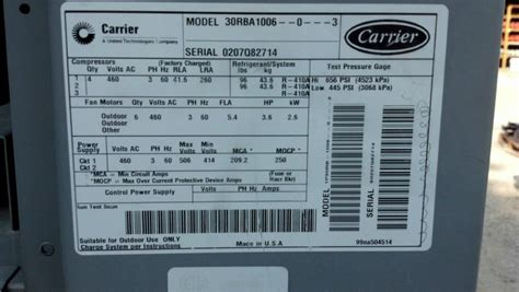 carrier aquasnap  ton air cooled chiller model