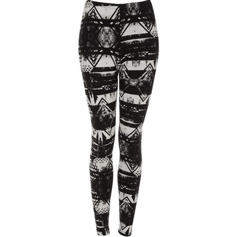 patterned tights topshop topshop brushed worn aztec leggings 40 via polyvore