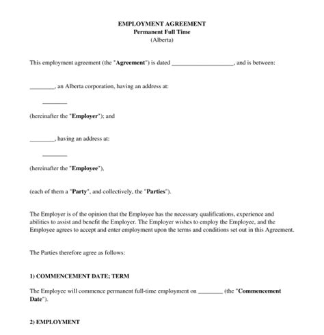 employment agreement employment agreement sle template word and pdf