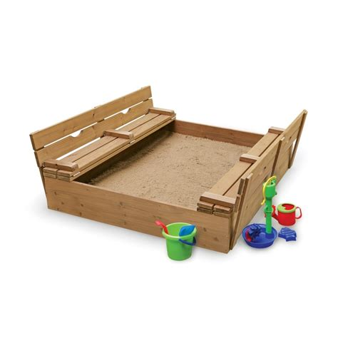sandbox with folding benches cedar 4 rectangular sandbox with cover