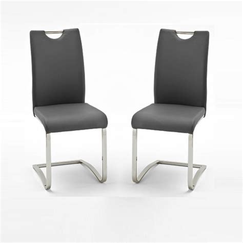 dining chairs grey koln dining chair in grey faux leather in a pair 26660