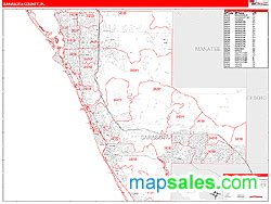 zip code map sarasota sarasota county fl zip code wall map red line style by